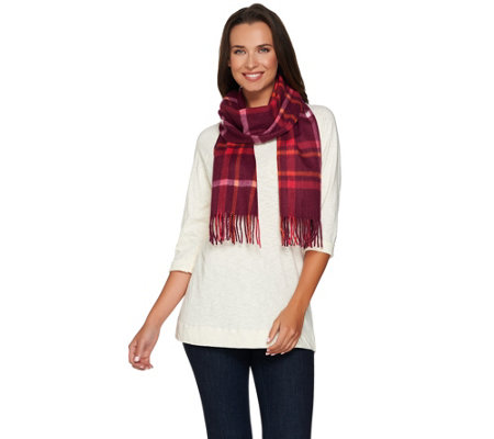 Isaac Mizrahi Live! 2-Ply Cashmere Woven Plaid Scarf
