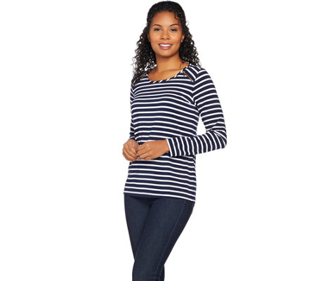 Susan Graver Weekend Striped Stretch Cotton Modal Top with Zipper Trim