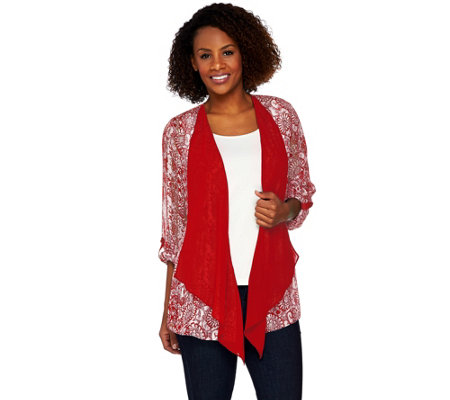 """As Is"" Susan Graver Printed Woven Open Front Cardigan"