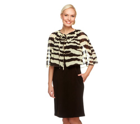 """As Is"" George Simonton Crystal Knit Dress w/Zebra Printed Capelet"