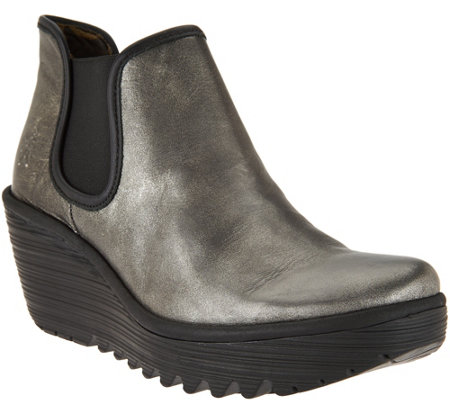 FLY London Leather Slip-on Wedge Boots - Yat