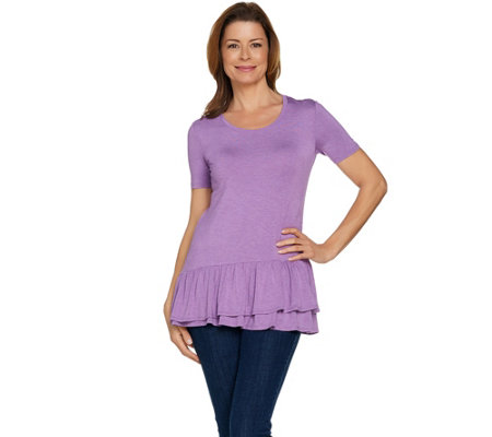 LOGO by Lori Goldstein Short Sleeve Heathered Top with Ruffles
