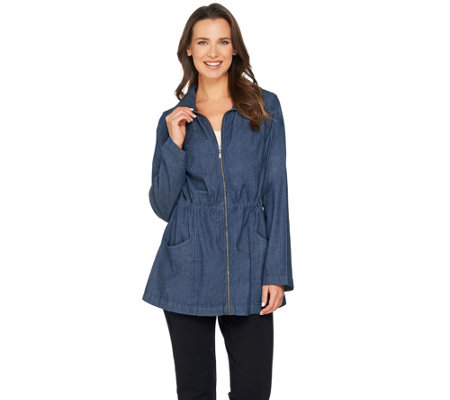 Denim & Co. Long Sleeve Jacket with Drawstring Waist Detail