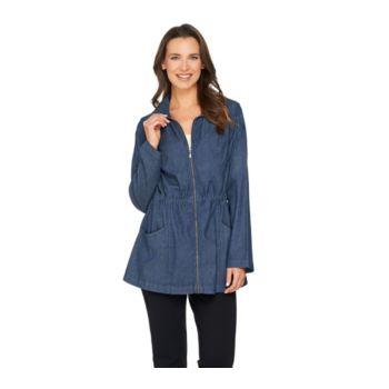 Denim & Co. Long Sleeve Jacket with Drawstring Waist Detail