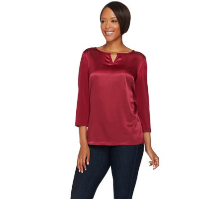 """As Is"" Susan Graver Liquid Knit Top with Woven Front & Keyhole Trim"