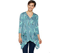 LOGO by Lori Goldstein Printed Button Front Cardigan - A290230