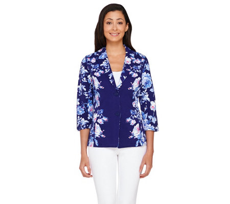 """As Is"" Isaac Mizrahi Live! Placed Floral Print Knit Jacket"