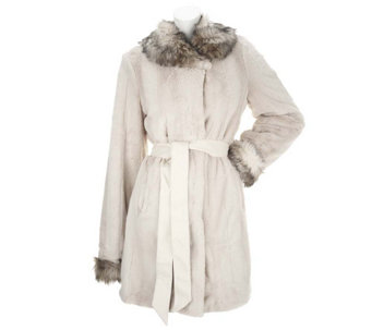 """As Is"" Dennis Basso Belted Faux Fur Shawl Collar Coat with Pockets - A291230"