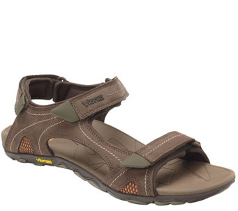 """As Is"" Vionic w/Orthaheel Men's Orthotic Leather Sport Sandals - Boyes - A293230"
