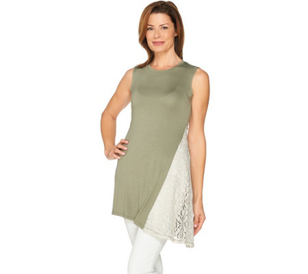 """As Is"" LOGO Layers by Lori Goldstein Knit Tank with Lace Godet"
