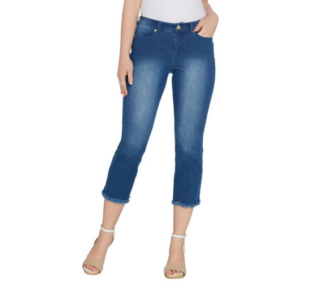 G.I.L.I. Petite Cropped Flare Jeans with Frayed Hem