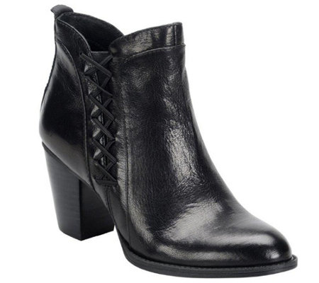 Sofft Leather Block Heel Ankle Boots - Waverly