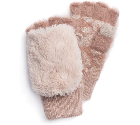 MUK LUKS Women's Rose Fingerless Flip Mittens