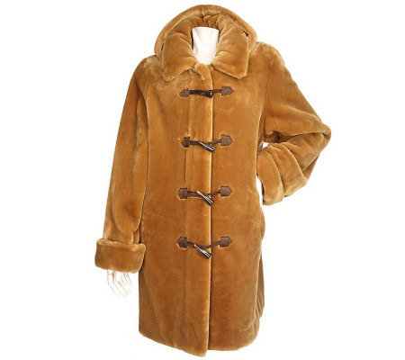 Dennis Basso Faux Fur Toggle Closure Coat with Detachable Hood