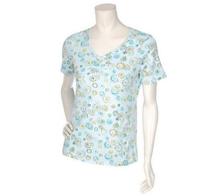 Denim & Co. Short Sleeve T-shirt with Polka Dots & Ruching Detail