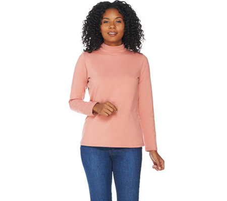 Denim & Co. Essentials Perfect Jersey Long Sleeve Mock Neck Top