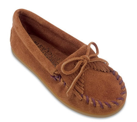 Minnetonka Children's Kilty Suede Moccasins
