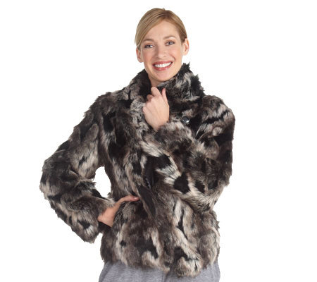 Luxe Rachel Zoe Faux Fox Jacket with Hook & Eye Closure