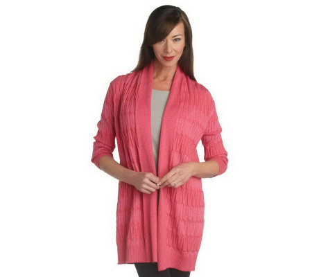 George Simonton Long Cable Cardigan with Metallic Detail ...