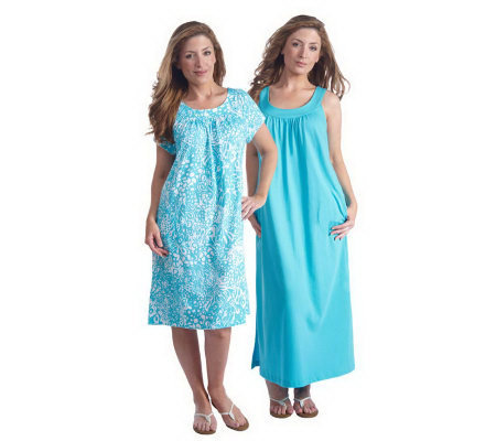 Stan Herman Cotton Jersey Mini and Maxi Loungewear Dress Set