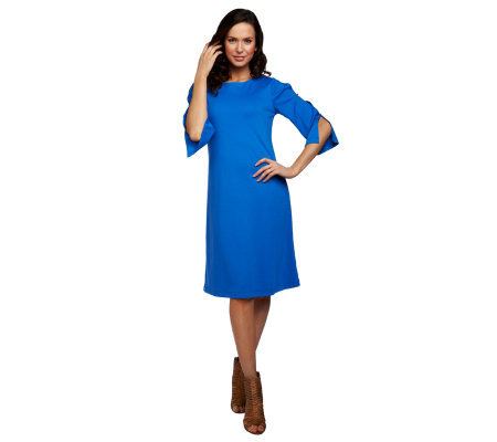 Susan Graver Ponte Knit Swing Dress with Split 3/4 Sleeves