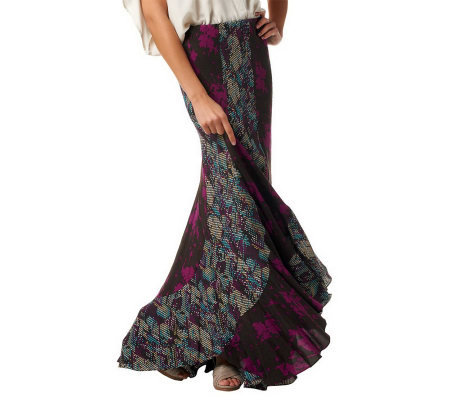 KZ by Karen Zambos Twin Print Gored Maxi Skirt