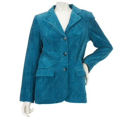Dennis Basso Washable Suede Notch Collar Blazer with Pockets