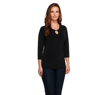 Susan Graver Liquid Knit 3/4 Sleeve Top with Neck Detail