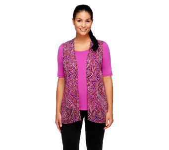 Bob Mackie's Sheer Printed Vest & Scoopneck T-shirt Set - A234631