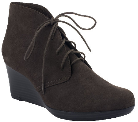 Clarks Wedge Suede Ankle Boots - Crystal Peridot