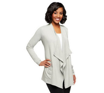 LOGO Lounge by Lori Goldstein French Terry Cardigan with Pockets - A237531