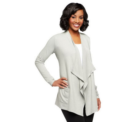 LOGO Lounge by Lori Goldstein French Terry Cardigan with Pockets