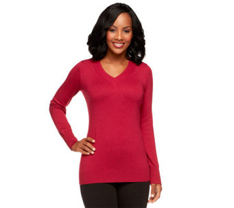 Linea by Louis Dell'Olio Posh Knit V-Neck Sweater - A238531