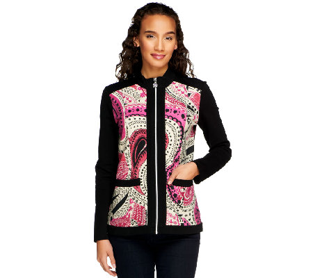 Susan Graver Weekend Print & Solid French Terry Jacket