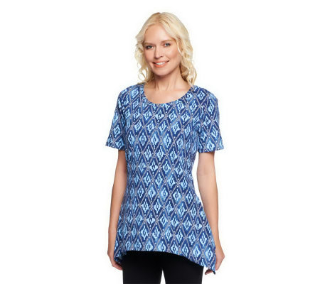 """As Is"" Denim & Co. Scoop Neck Printed Knit Top with Trapeze Hem"