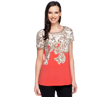 Susan Graver Liquid Knit Border Printed Short Sleeve Top