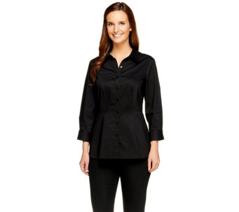 Denim & Co. Stretch Woven 3/4 Sleeve Peplum Shirt - A256331