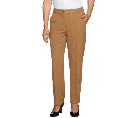 Susan Graver Regular Stretch Crepe Zip Front Pants