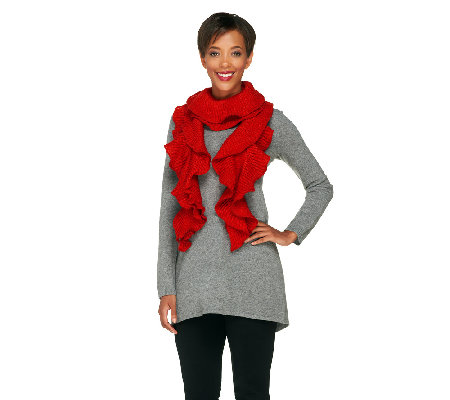 Collection 18 Lurex Ruffled Knit Scarf with Gift Box