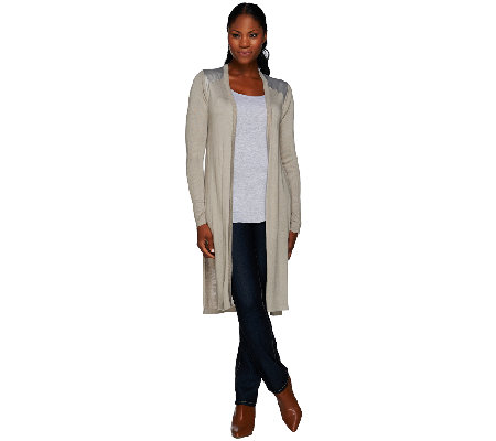 H by Halston Long Sweater Knit Cardigan with Woven Back Detail