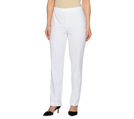 Susan Graver Chelsea Stretch Comfort Waist Full Length Pants - Petite