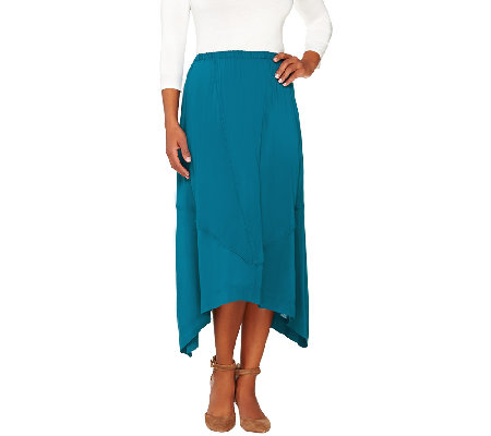 Lisa Rinna Collection Sharkbite Hem Skirt with Seam Detail
