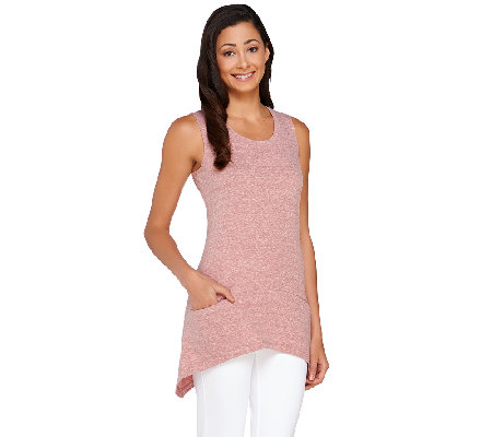 LOGO by Lori Goldstein Scoop Neck Knit Tank with Seam Pockets