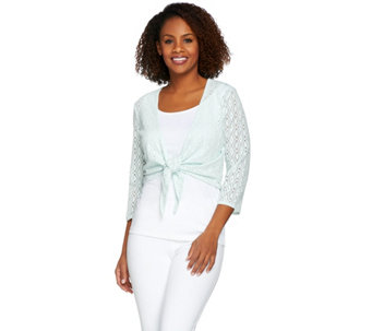 Denim & Co. 3/4 Sleeve Jacquard Lace Shrug - A263631
