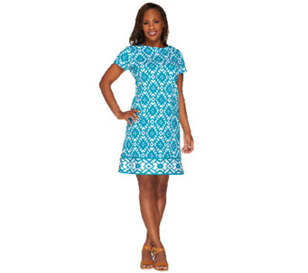 Susan Graver Weekend Printed French Terry Short Sleeve Dress - A263831