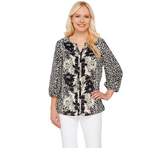 Liz Claiborne New York Printed 3/4 Sleeve Blouse - A264131