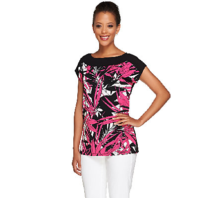 Susan Graver Printed Liquid Knit Extended Cap Sleeve Top