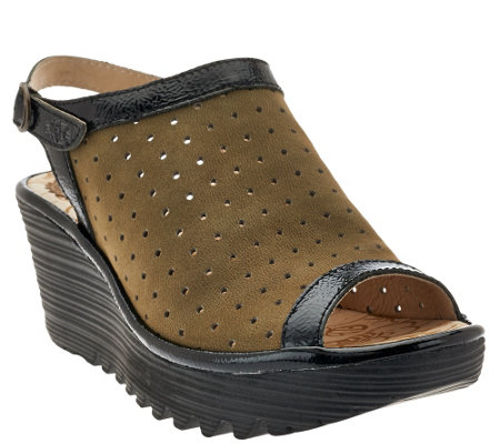 FLY London Perforated Peep-toe Wedge Sandals - Yile Perf