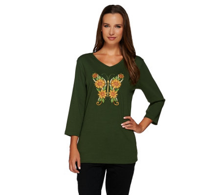 Quacker Factory Butterfly Floral 3/4 Sleeve T-shirt