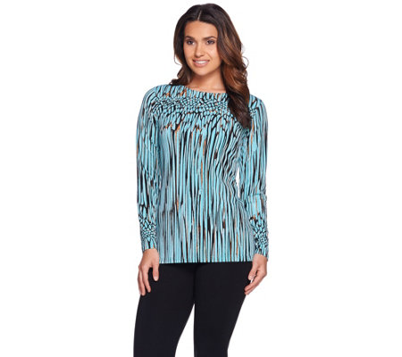 Bob Mackie's Long Sleeve Bateau Neck Printed Knit Top